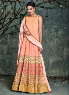 DESIRABLE PEACH OMBRE EMBROIDERED DESIGNER SUIT