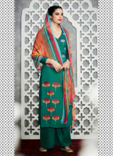 TIMELESS PEACOCK GREEN EMBROIDERED PALAZZO SUIT