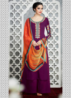 TIMELESS WINE COLORED EMBROIDERED PALAZZO SUIT