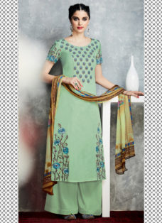 TIMELESS SLATE GREEN EMBROIDERED PALAZZO SUIT