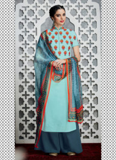 TIMELESS LIGHT BLUE FLORAL DESIGNER PALAZZO SUIT