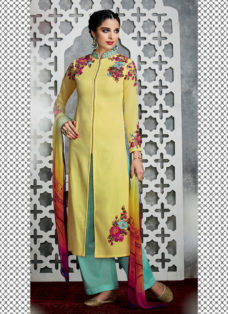 TIMELESS LEMON YELLOW FLORAL DESIGNER PALAZZO SUIT
