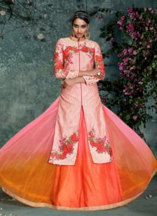 DESIRABLE PEACH EMBROIDERED LEHENGA CHOLI