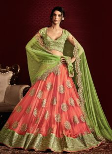 GRANDEUR LIGHT GREEN N PEACH DESIGNER LEHENGA
