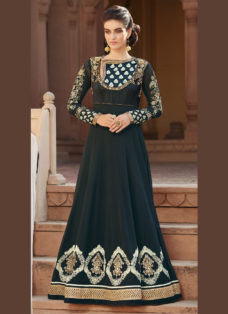 REGAL GREYISH BLACK EMBROIDERED ANARKALI SUIT
