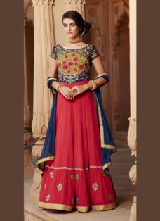 REGAL RED GEORGETTE EMBROIDERED ANARKALI SUIT