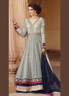 REGAL GREY BANARASI JACQUARD ANARKALI SUIT