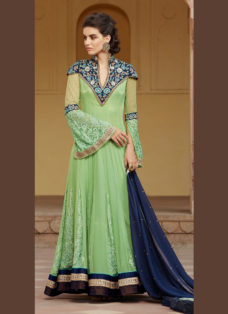 REGAL PISTA GREEN EMBROIDERED ANARKALI SUIT