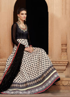 REGAL BLACK BANARASI EMBROIDERED ANARKALI SUIT