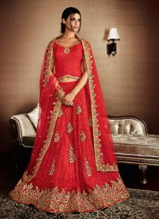 GRANDEUR BRIDAL RED EMBROIDERED LEHENGA CHOLI