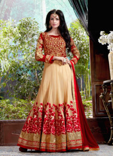 MESMERISING BEIGE N RED EMBROIDERED ANARKALI