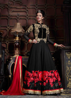 MESMERISING BLACK N RED EMBROIDERED ANARKALI