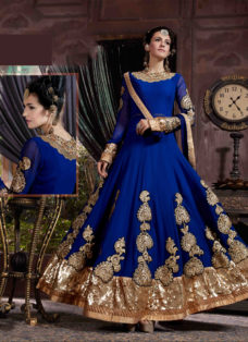 MESMERISING ROYAL BLUE EMBROIDERED ANARKALI SUIT