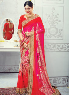 SPLENDID RED N PINK OMBRE EMBROIDERED SAREE