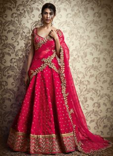 GRANDEUR PINK SILK ZARI EMBROIDERED LEHENGA SET