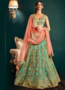 GRANDEUR SEA GREEN N PEACH EMBROIDERED LEHENGA