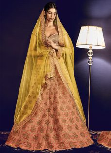 GRANDEUR GOLDEN N PEACH EMBROIDERED LEHENGA SET