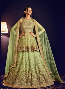 GRANDEUR PISTA GREEN EMBROIDERED LEHENGA CHOLI