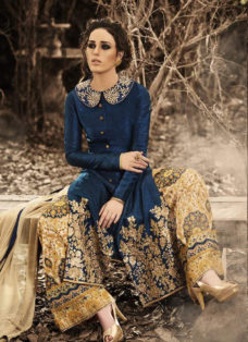 MAJESTIC NAVY BLUE EMBROIDERED PALAZZO SUIT