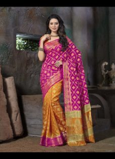 ETHNIC RANI PINK N YELLOW DESIGNER SILK SAREE