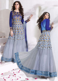 IMPRESSIVE BLUE AND GREY PARTYWEAR ANARKALI SUIT