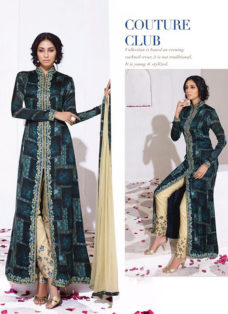 IMPRESSIVE BLUE N BEIGE EMBROIDERED DESIGNER SUIT