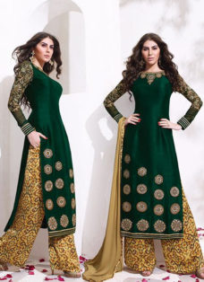 IMPRESSIVE DEEP GREEN EMBROIDERED PALAZZO SUIT
