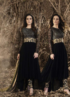 MAJESTIC BLACK EMBROIDERED ASYMMETRICAL SUIT