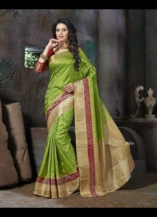 ETHNIC GREEN JACQUARD ART SILK DESIGNER SAREE