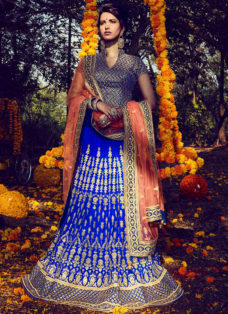 SHOWSTOPPER ROYAL BLUE EMBROIDERED LEHENGA CHOLI