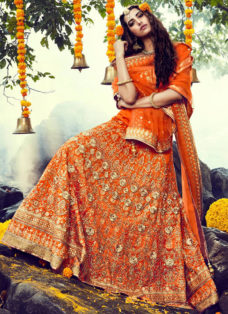 SHOWSTOPPER MONARCH ORANGE EMBROIDERED LEHENGA CHOLI
