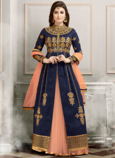 RESPLENDENT BLUE N PEACH EMBROIDERED LEHENGA