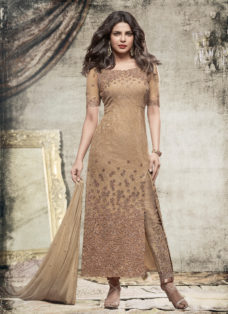 PRIYANKA CHOPRA BEIGE EMBROIDERED DESIGNER PANT SUIT