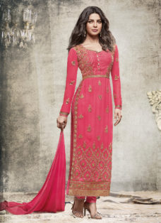 PRIYANKA CHOPRA PEACHY PINK EMBROIDERED DESIGNER SUIT