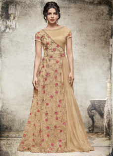 PRIYANKA CHOPRA LIGHT BEIGE EMBROIDERED DESIGNER GOWN
