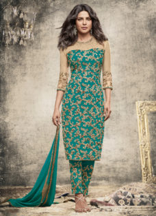PRIYANKA CHOPRA TEAL EMBROIDERED PARTY WEAR SUIT