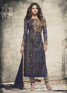 PRIYANKA CHOPRA NAVY BLUE DESIGNER PARTY WEAR SUIT