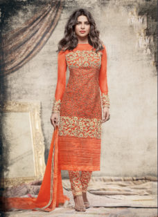 PRIYANKA CHOPRA ORANGE DESIGNER PARTY WEAR SUIT