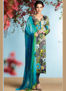 GREY GEORGETTE SATIN DIGITAL PRINTED DESIGNER SUIT