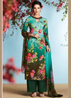 GREEN N BROWN OMBRE GEORGETTE SATIN DIGITAL PRINTED SUIT