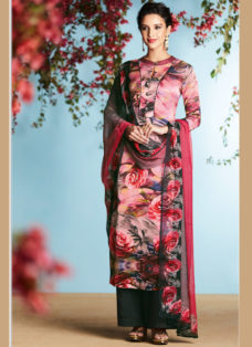 PINK GEORGETTE SATIN DIGITAL PRINTED DESIGNER SUIT