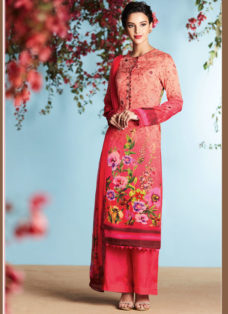 RED GEORGETTE SATIN DIGITAL PRINTED DESIGNER SUIT