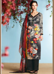 BLACK GEORGETTE SATIN DIGITAL PRINTED DESIGNER SUIT