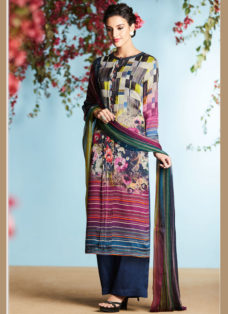 MULTI COLORED GEORGETTE SATIN DIGITAL PRINTED SUIT