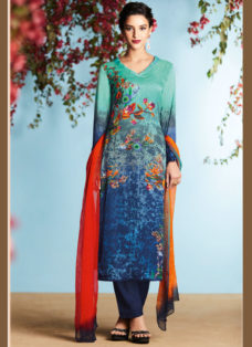 BLUE GEORGETTE SATIN DIGITAL PRINTED DESIGNER SUIT