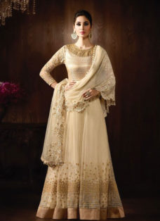 STUPENDOUS CREAM NET EMBROIDERED ANARKALI SUIT