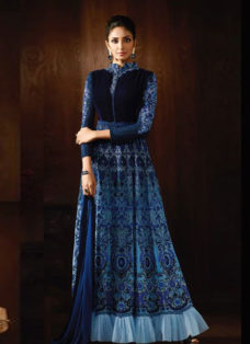 STUPENDOUS BLUE SHADED EMBROIDERED ANARKALI SUIT