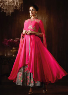 STUPENDOUS HOT PINK N GREY EMBROIDERED ANARKALI SUIT