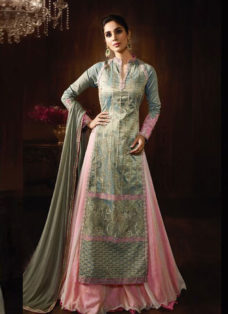 STUPENDOUS BLUE N LIGHT PINK DESIGNER LEHENGA SET