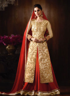 STUPENDOUS CREAM N RED EMBROIDERED LEHENGA SET